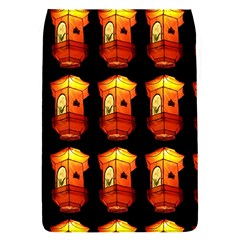 Paper Lanterns Pattern Background In Fiery Orange With A Black Background Flap Covers (s)