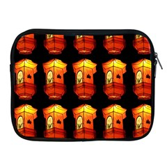 Paper Lanterns Pattern Background In Fiery Orange With A Black Background Apple iPad 2/3/4 Zipper Cases
