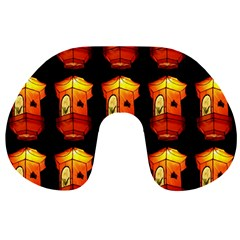 Paper Lanterns Pattern Background In Fiery Orange With A Black Background Travel Neck Pillows