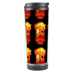 Paper Lanterns Pattern Background In Fiery Orange With A Black Background Travel Tumbler