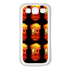 Paper Lanterns Pattern Background In Fiery Orange With A Black Background Samsung Galaxy S3 Back Case (White)