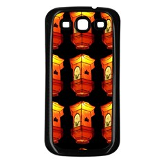 Paper Lanterns Pattern Background In Fiery Orange With A Black Background Samsung Galaxy S3 Back Case (Black)
