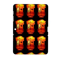 Paper Lanterns Pattern Background In Fiery Orange With A Black Background Samsung Galaxy Tab 2 (10.1 ) P5100 Hardshell Case
