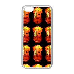 Paper Lanterns Pattern Background In Fiery Orange With A Black Background Apple iPhone 5C Seamless Case (White)