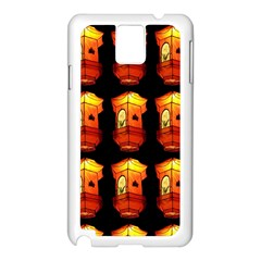 Paper Lanterns Pattern Background In Fiery Orange With A Black Background Samsung Galaxy Note 3 N9005 Case (White)