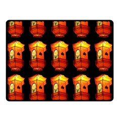 Paper Lanterns Pattern Background In Fiery Orange With A Black Background Double Sided Fleece Blanket (Small)