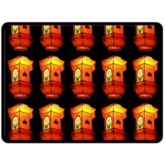 Paper Lanterns Pattern Background In Fiery Orange With A Black Background Double Sided Fleece Blanket (Large)