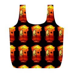 Paper Lanterns Pattern Background In Fiery Orange With A Black Background Full Print Recycle Bags (L)