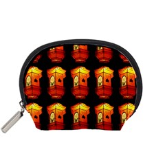 Paper Lanterns Pattern Background In Fiery Orange With A Black Background Accessory Pouches (small)