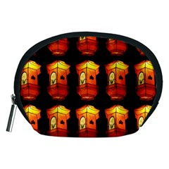 Paper Lanterns Pattern Background In Fiery Orange With A Black Background Accessory Pouches (Medium)