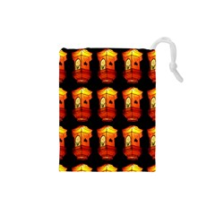 Paper Lanterns Pattern Background In Fiery Orange With A Black Background Drawstring Pouches (Small)