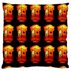 Paper Lanterns Pattern Background In Fiery Orange With A Black Background Large Flano Cushion Case (One Side)