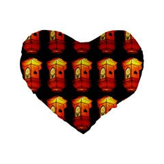 Paper Lanterns Pattern Background In Fiery Orange With A Black Background Standard 16  Premium Flano Heart Shape Cushions
