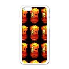 Paper Lanterns Pattern Background In Fiery Orange With A Black Background Apple iPhone 6/6S White Enamel Case