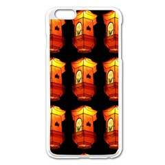 Paper Lanterns Pattern Background In Fiery Orange With A Black Background Apple iPhone 6 Plus/6S Plus Enamel White Case