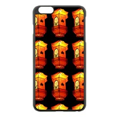 Paper Lanterns Pattern Background In Fiery Orange With A Black Background Apple Iphone 6 Plus/6s Plus Black Enamel Case