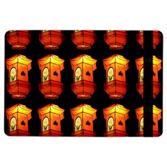 Paper Lanterns Pattern Background In Fiery Orange With A Black Background iPad Air 2 Flip