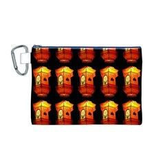 Paper Lanterns Pattern Background In Fiery Orange With A Black Background Canvas Cosmetic Bag (m)