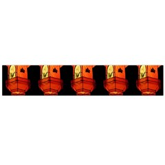 Paper Lanterns Pattern Background In Fiery Orange With A Black Background Flano Scarf (Large)