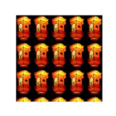 Paper Lanterns Pattern Background In Fiery Orange With A Black Background Small Satin Scarf (Square)