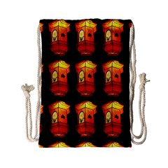 Paper Lanterns Pattern Background In Fiery Orange With A Black Background Drawstring Bag (small)