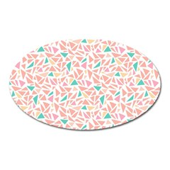 Geometric Abstract Triangles Background Oval Magnet