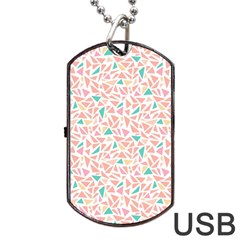 Geometric Abstract Triangles Background Dog Tag Usb Flash (one Side)