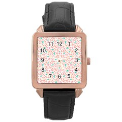 Geometric Abstract Triangles Background Rose Gold Leather Watch
