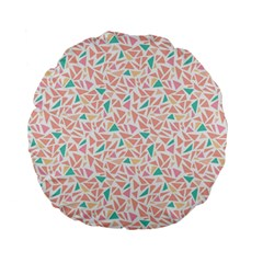 Geometric Abstract Triangles Background Standard 15  Premium Flano Round Cushions