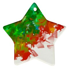 Digitally Painted Messy Paint Background Texture Ornament (Star)