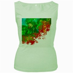 Digitally Painted Messy Paint Background Texture Women s Green Tank Top