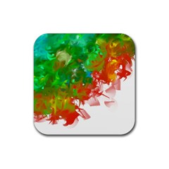 Digitally Painted Messy Paint Background Texture Rubber Square Coaster (4 pack)