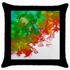 Digitally Painted Messy Paint Background Texture Throw Pillow Case (black)