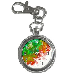 Digitally Painted Messy Paint Background Texture Key Chain Watches