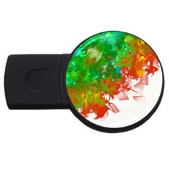 Digitally Painted Messy Paint Background Texture USB Flash Drive Round (1 GB)