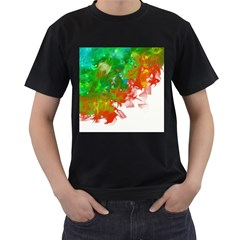 Digitally Painted Messy Paint Background Texture Men s T Shirt (black) (two Sided)