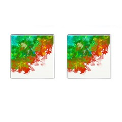 Digitally Painted Messy Paint Background Texture Cufflinks (Square)