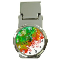 Digitally Painted Messy Paint Background Texture Money Clip Watches