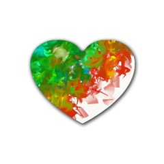 Digitally Painted Messy Paint Background Texture Heart Coaster (4 Pack)
