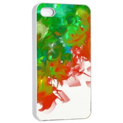 Digitally Painted Messy Paint Background Texture Apple Iphone 4/4s Seamless Case (white)