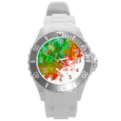 Digitally Painted Messy Paint Background Texture Round Plastic Sport Watch (l)