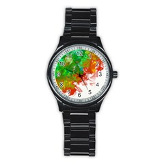 Digitally Painted Messy Paint Background Texture Stainless Steel Round Watch