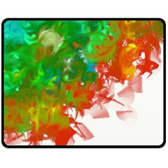 Digitally Painted Messy Paint Background Texture Double Sided Fleece Blanket (Medium)