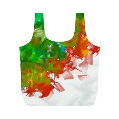 Digitally Painted Messy Paint Background Texture Full Print Recycle Bags (M)