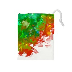 Digitally Painted Messy Paint Background Texture Drawstring Pouches (Medium)