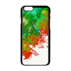 Digitally Painted Messy Paint Background Texture Apple iPhone 6/6S Black Enamel Case
