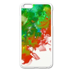 Digitally Painted Messy Paint Background Texture Apple iPhone 6 Plus/6S Plus Enamel White Case
