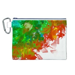 Digitally Painted Messy Paint Background Texture Canvas Cosmetic Bag (L)