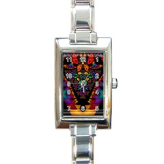 Symmetric Fractal Image In 3d Glass Frame Rectangle Italian Charm Watch