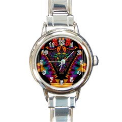 Symmetric Fractal Image In 3d Glass Frame Round Italian Charm Watch